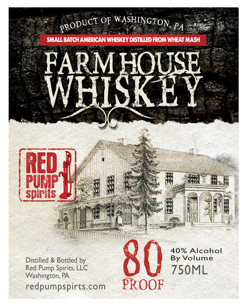 FARMHOUSE WHISKEY - Farmhouse Whiskey has a special place in our family's heart.  It is named after the home we were raised in off Route 40 in the coal town of Cokeburg, PA.  That's why we put the picture of this 18th Century farmhouse on the label. It begins with locally sourced wheat grain from an organic farm in nearby Avella, PA.  To kick it up a notch we age the distilled spirit in barrels previously used to age our Rebellion Rye Whiskey.  So you get the mellow taste of a wheat whiskey with a touch of spice from the rye.  We think the commitment to values and hard work we learned in that Farmhouse shows up in this whiskey.We bottle it at 80 Proof / 40%ABV