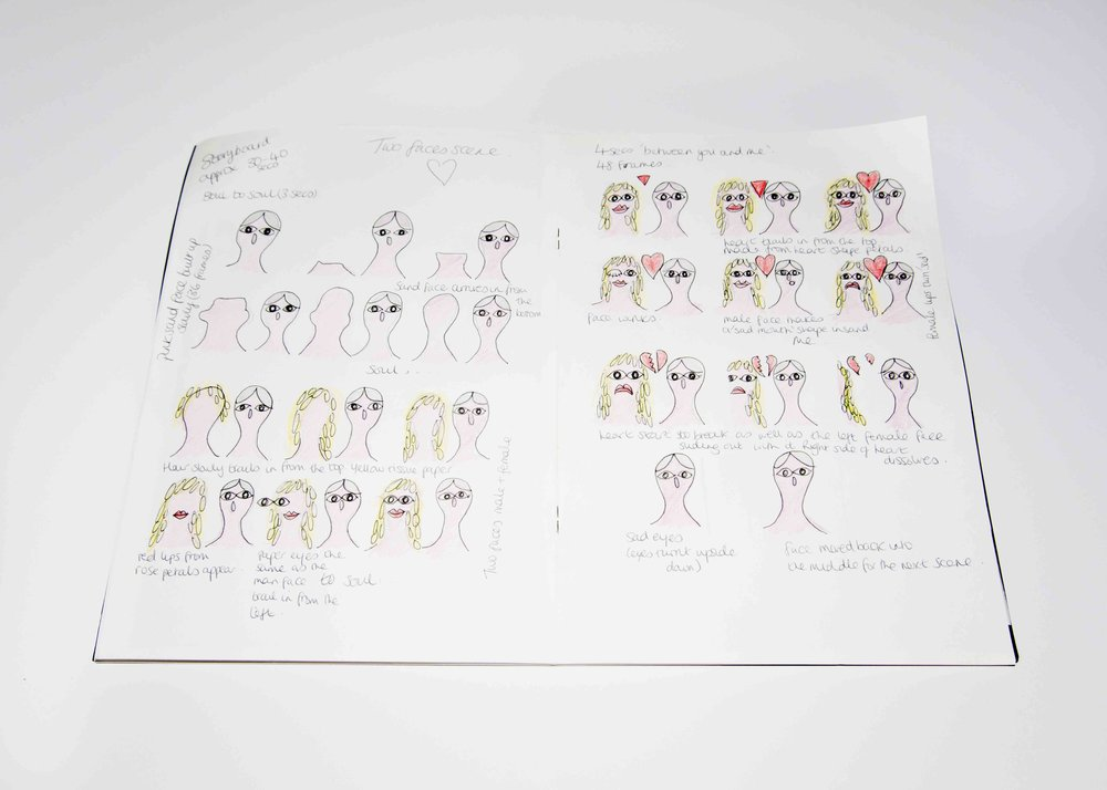 This is a story board from my sketchbook for the animation on the right. 'Life is long.' The animation was a group project. We were illustrating the song 'Life is Long' by Brian Eno.