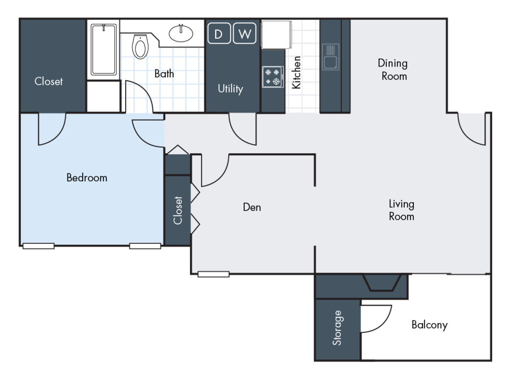 1 Bedroom | 1 Bathroom | 1216 SF | From $1025