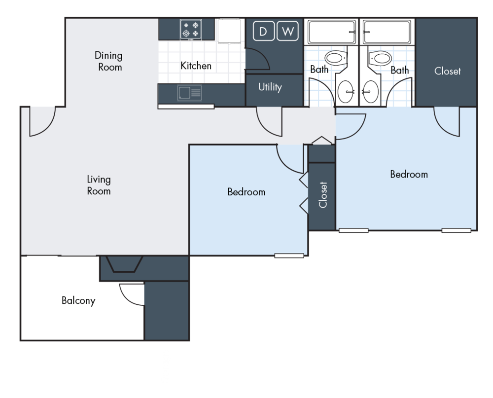2 Bedrooms | 2 Bathrooms | 1216 SF | From $1085