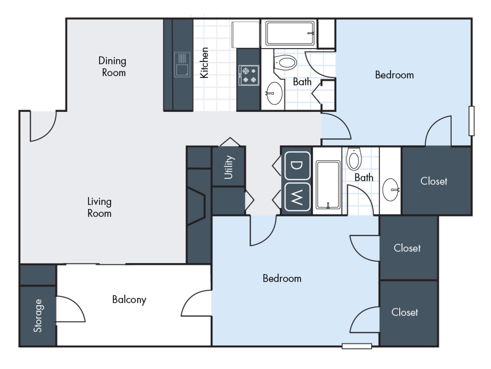 2 Bedrooms | 2 Bathrooms | 1357 SF | From $1105