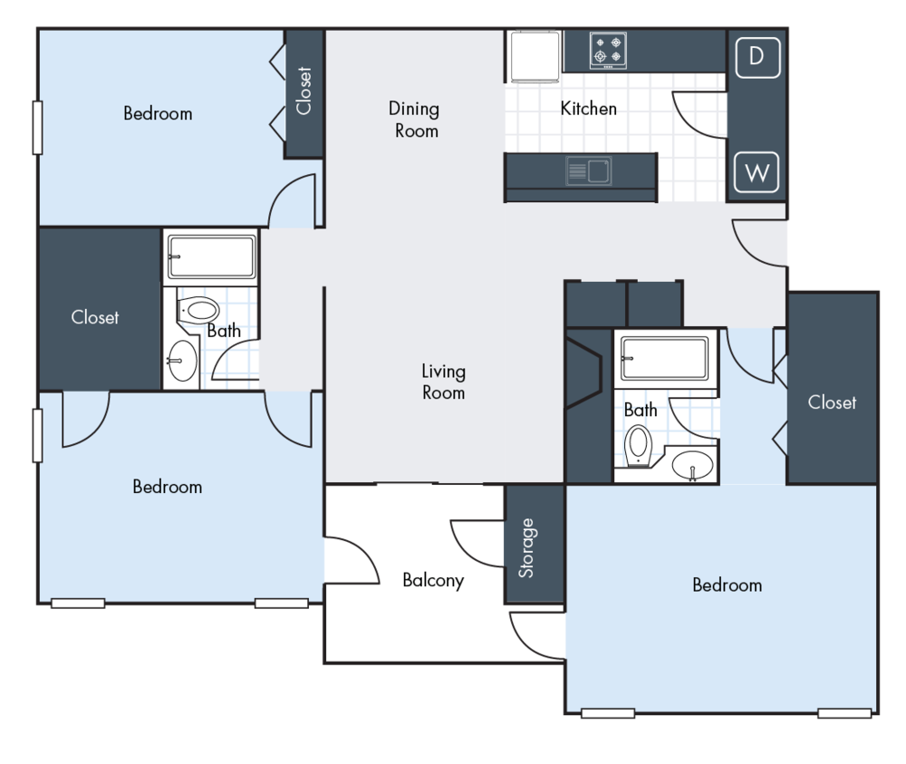 3 Bedrooms | 2 Bathrooms | 1550 SF | From $1299