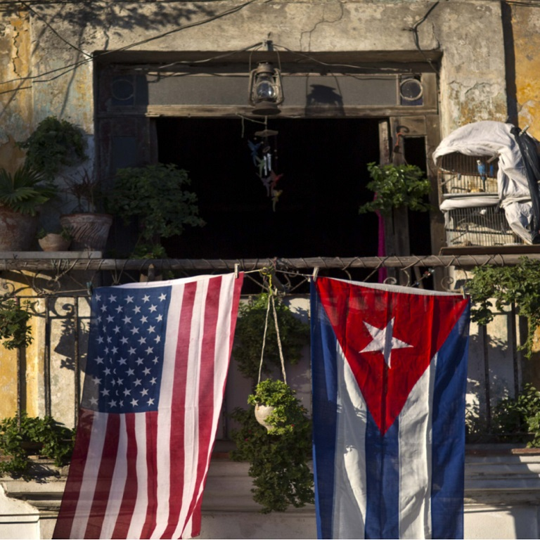 American and Cuban Flags