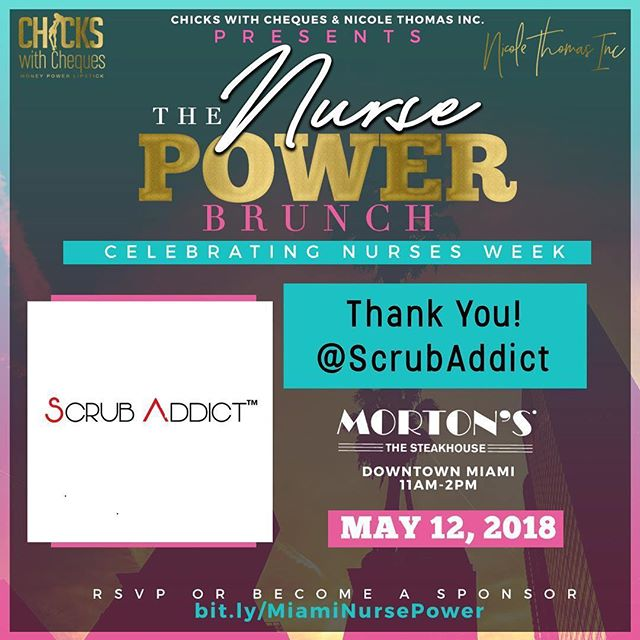 A HUGE thank you goes out to @scrubaddicts for being a power sponsor at Nurse Power Brunch in Miami on May 12 at 11a. This is the hottest place to be for Nurses Week! ———————————————- Join us for a full brunch, networking, special guests, red carpet experience, and a panel discussion to help you tap into your power! 💫  bit.ly/MiamiNursePower ------------------- #NursePowerBrunch #NursePowerNetwork #ChickswithCheques #NicoleThomasInc #ScrubAddict #ThankYou #NursesWeek #Miami #NurseLife #TravelNurse #Nursepreneur #Nurselife