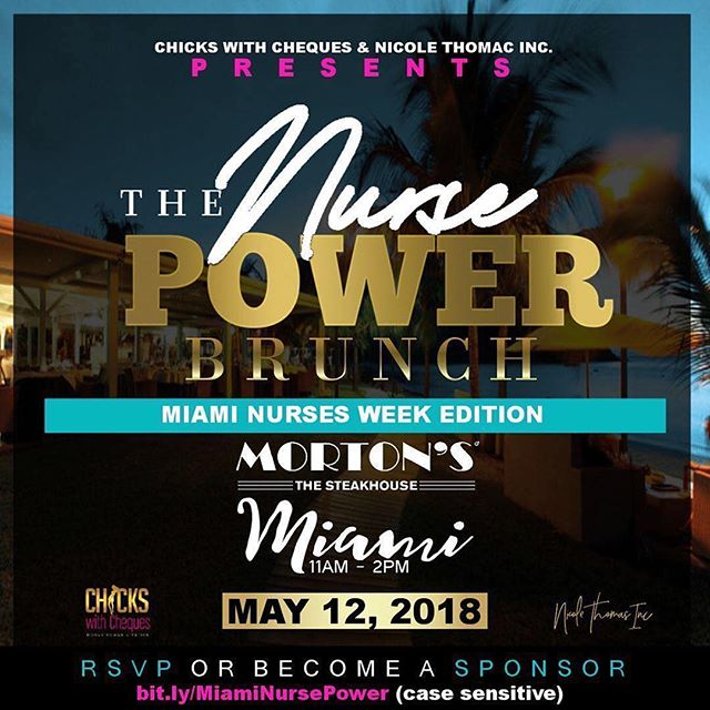 Miami will never be the same after my fellow Nurses and I take over it in celebration of Nurses week 2018. Join @chickswithcheques & @nicolethomasinc for the Nurse Power Brunch on May 12, 2018 with special guest @iamnursepatti as seen on Dr. Oz with red carpet hosted by the founder of @nursesandthecity Mrs. @tamika_lynn_ . And then that night we taking it up a notch with @nursesandthecity for Miami Night: Code Black party. _________ Click link in bio to get your tickets or send email.