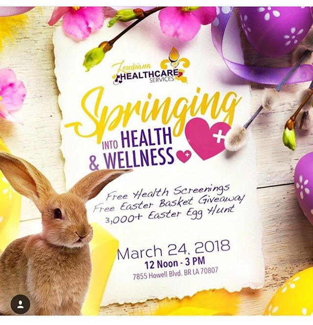 "🌼Join Louisiana Healthcare Services on March 24, 2018 for ""Springing Into Health & Wellness!"" 🌸 .  We will have community vendors on hand to ensure you have access to the resources you need to live a holistic life, FREE health screenings, Fun activities for the whole family to enjoy, 3,000 + Easter Egg Hunt, Easter Basket Giveaway, Free food, music, & FUN! . . . For more info & vending opportunities email us at info@louisianahealthcareservices.com  #WeAreLHS 💜💛💜💛 #225batonrouge  #BRStrong #WeAreBatonRouge"