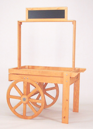 Pop-Up Cart Specs - This wooden display cart is made of solid pine with and oak finish.It weighs approximately 62 lbs.The product display area is 40