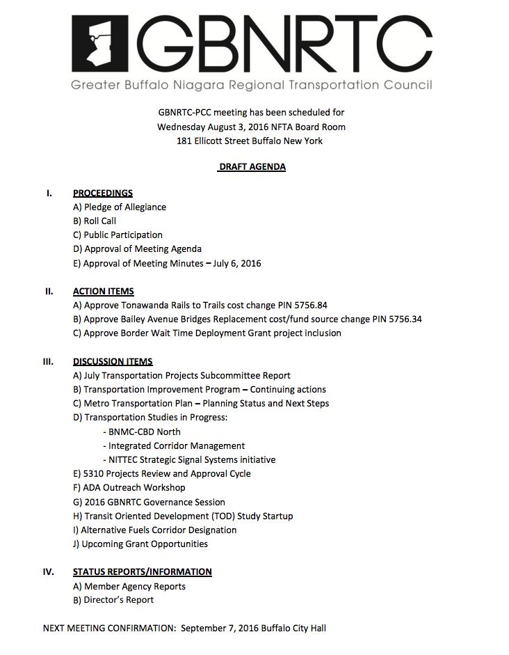 August 2016 PCC Agenda