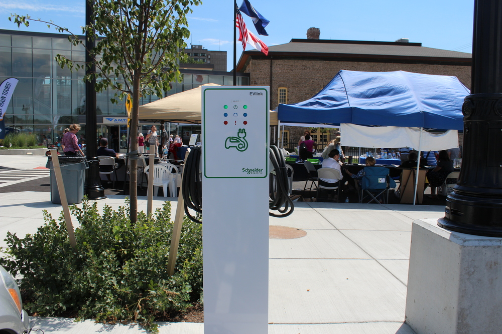 Electric Vehicle Charging Station at New Niagara Falls NY Amtrak Station