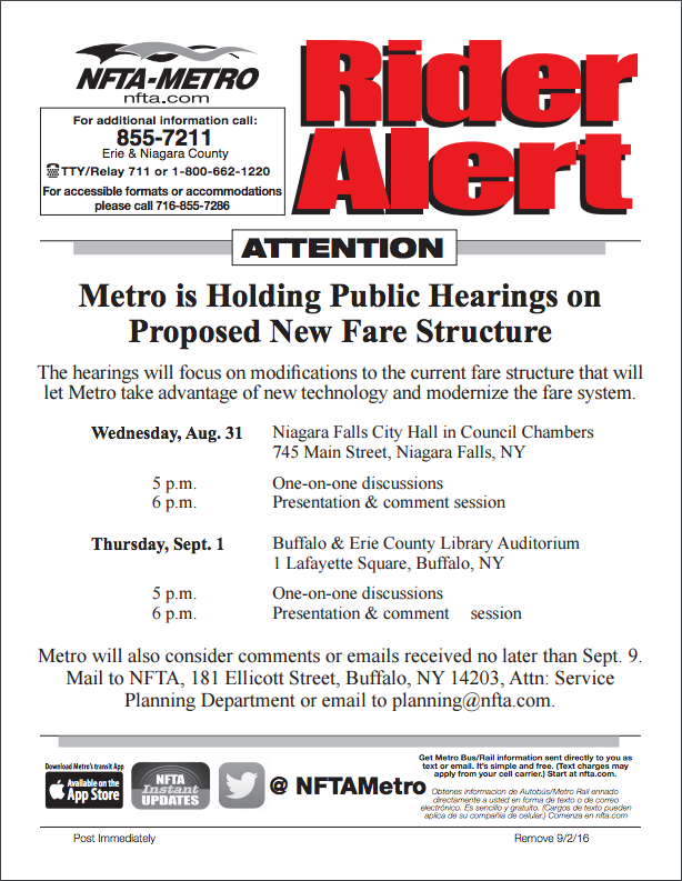 NFTA 2 Public Hearings on Proposed New Fare Structure