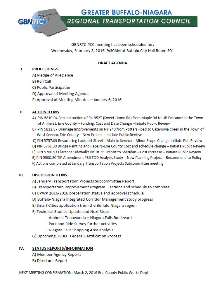 February 2016 PCC Agenda