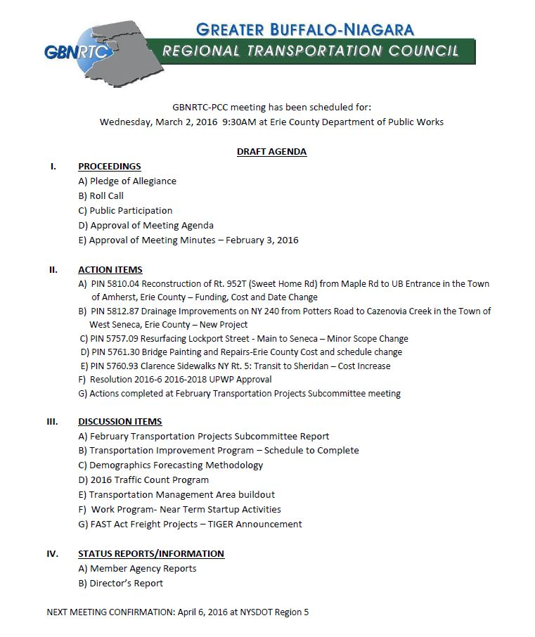 March 2016 PCC Agenda