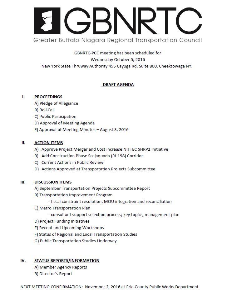 October 2016 PCC Agenda