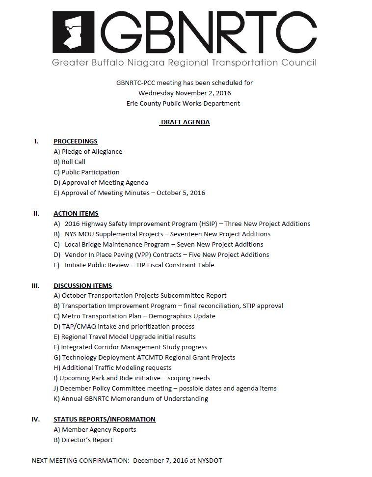 November 2016 PCC Agenda