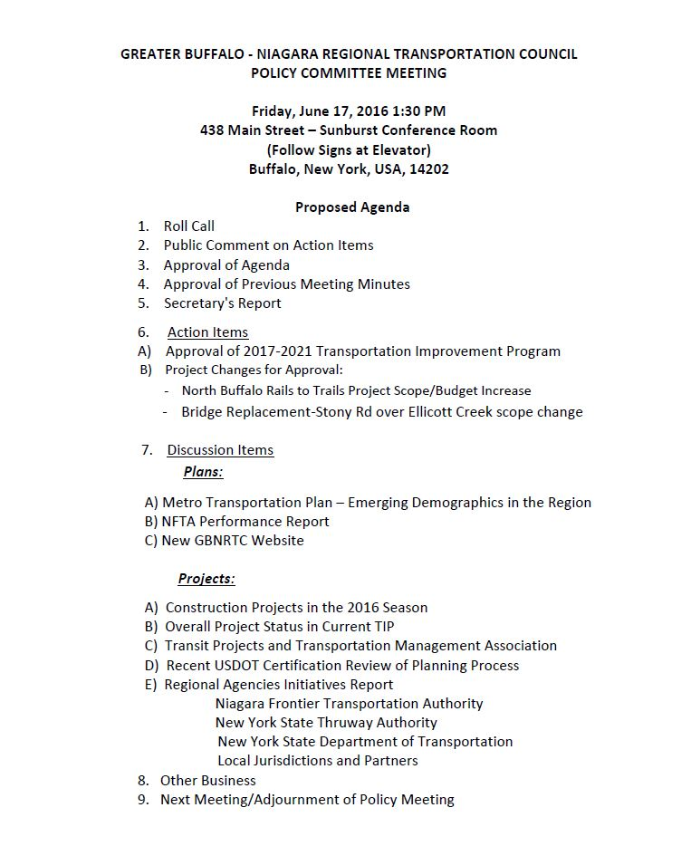 June 2016 Policy Meeting Agenda