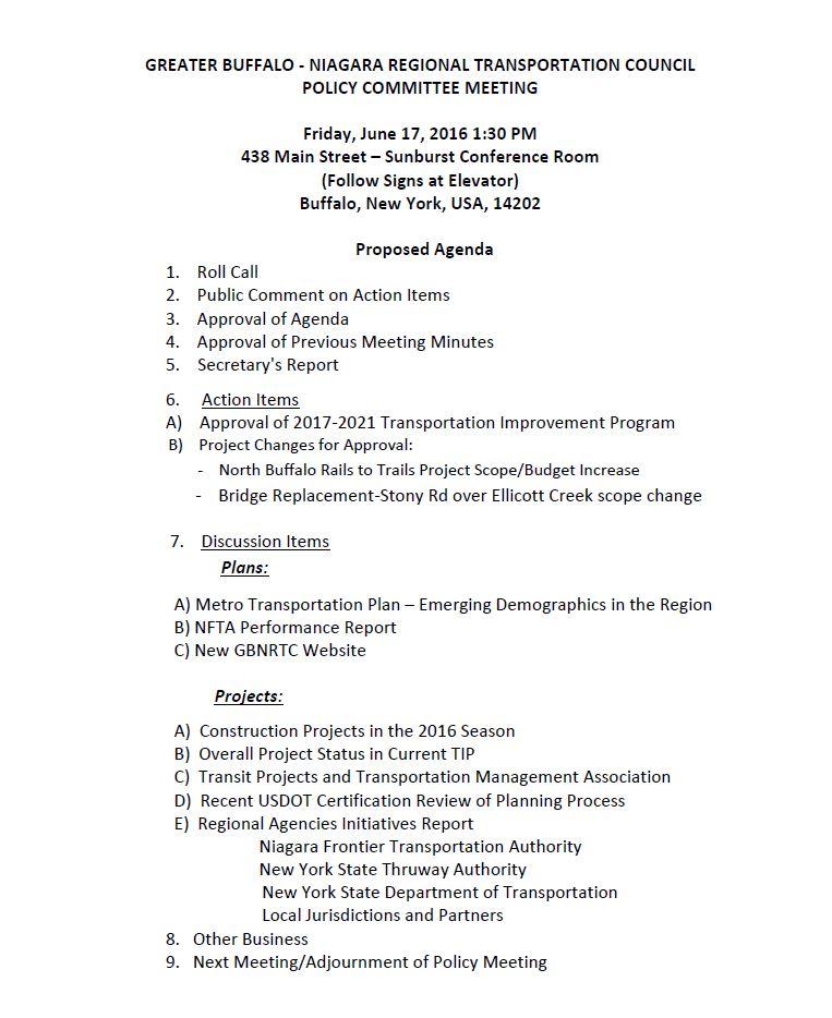 June 2016 Policy Meeting Agenda