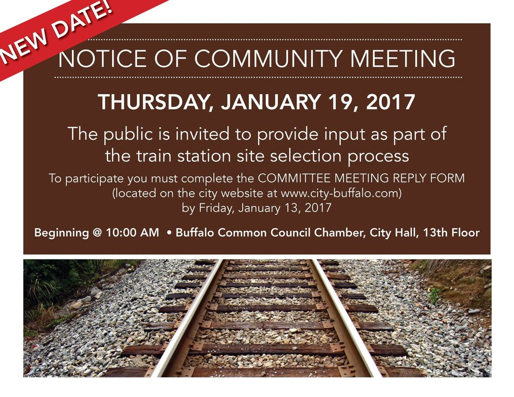 Buffalo Train Station Community Meeting Announcment