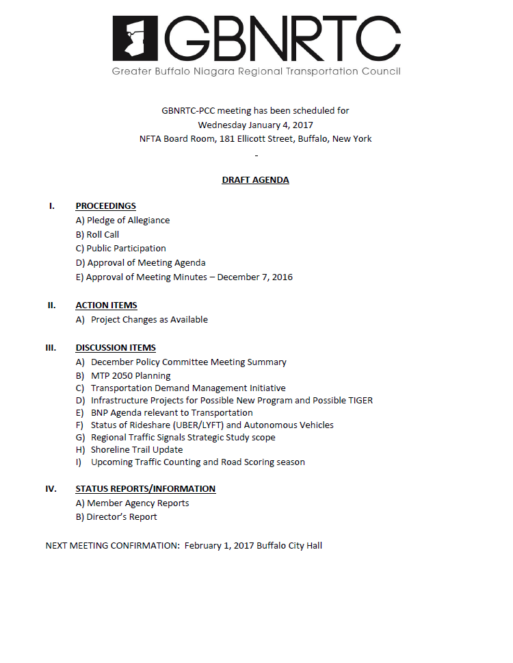 January 4 2017 PCC Agenda