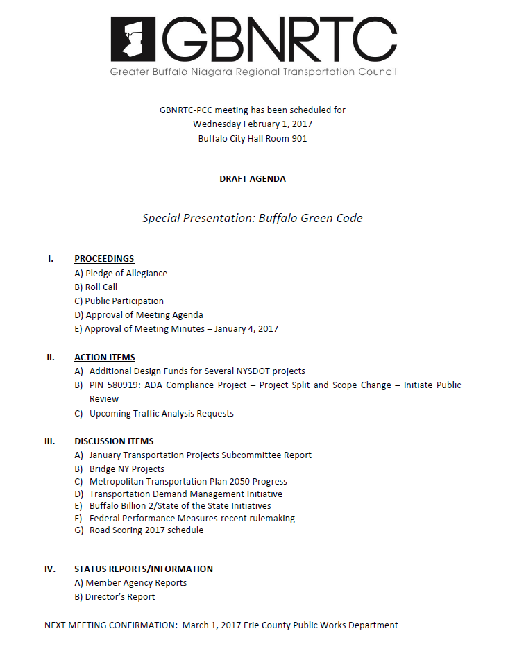 February 2017 PCC Meeting Draft Agenda