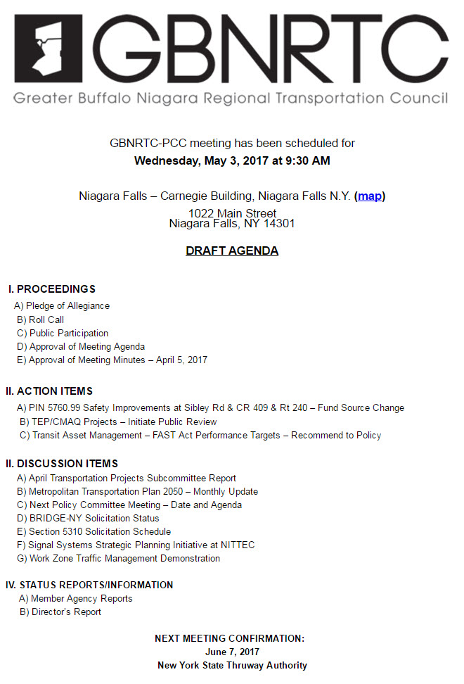 GBNRTC PCC Draft Meeting Agenda - May 3, 2017