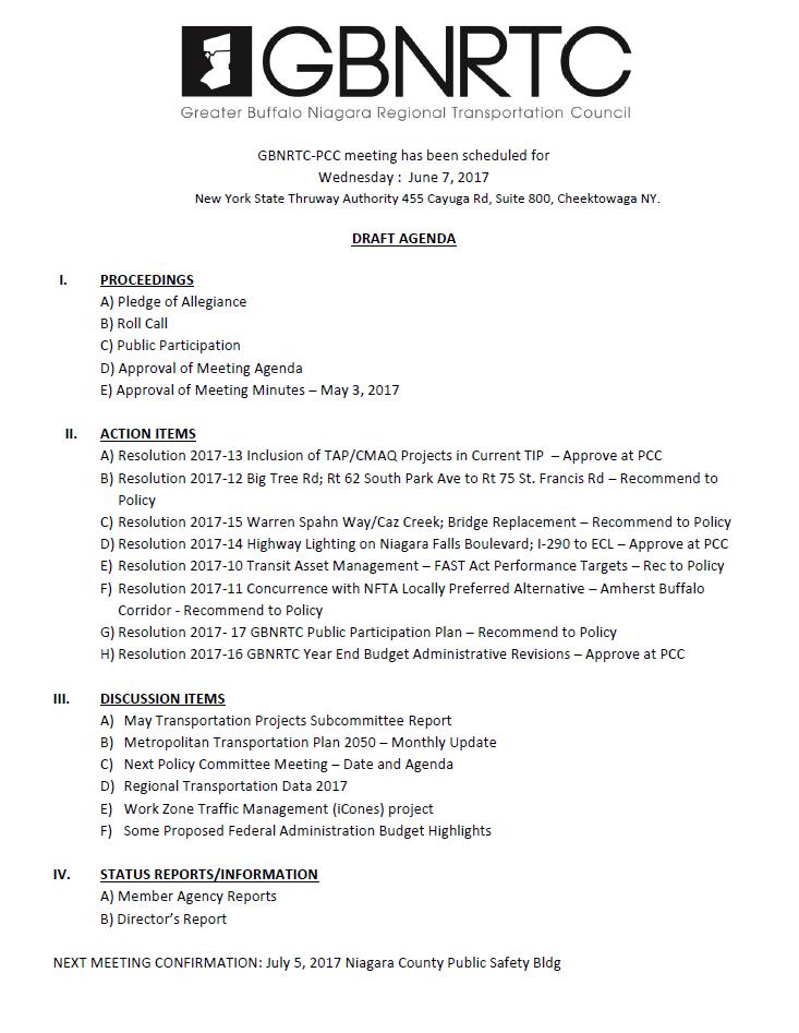 7 June 2017 PCC Meeting Agenda