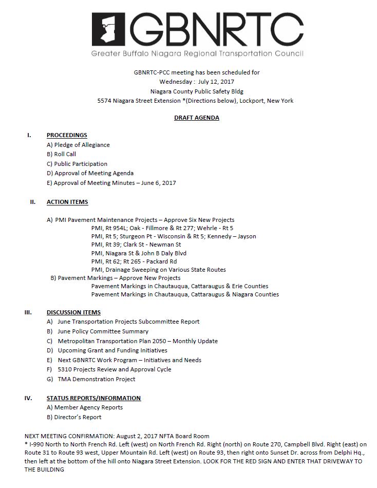 12 July 2017 PCC Meeting Agenda