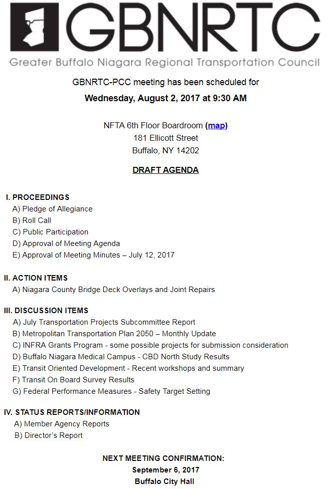 2 August 2017 PCC Meeting Agenda