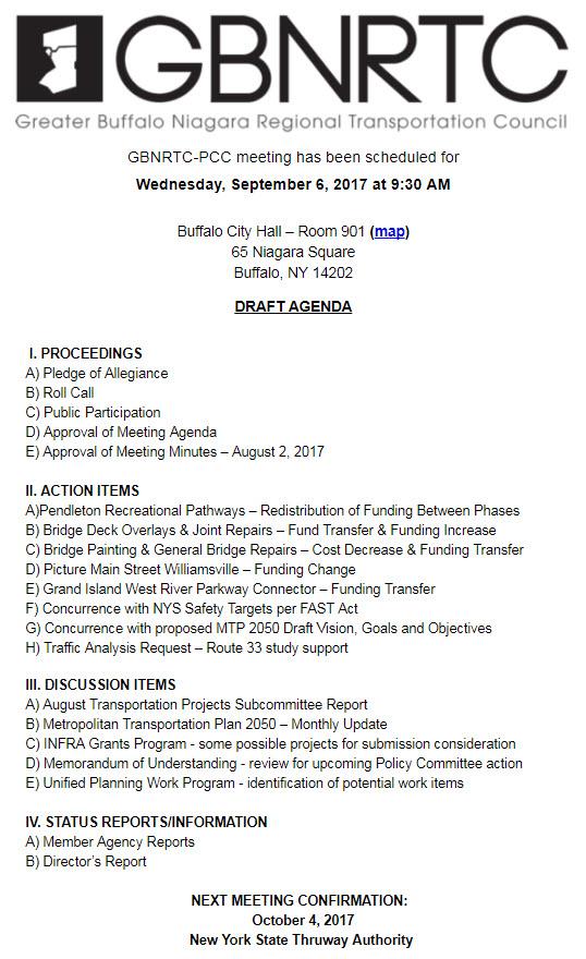 PCC Meeting September 6 2017 Draft Agenda