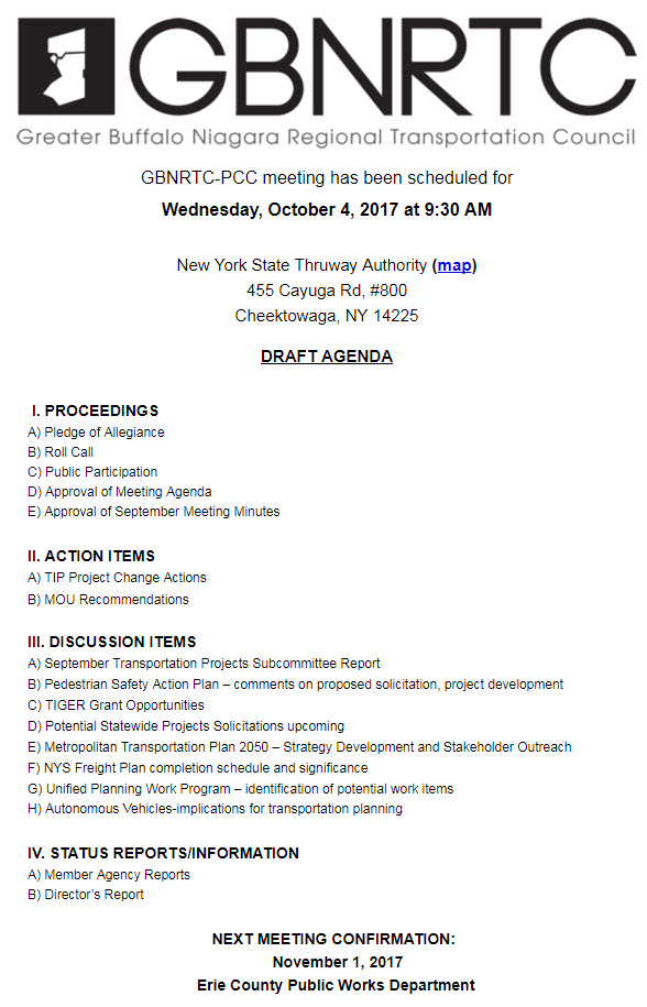 GBNRTC PCC Meeting Draft Agenda October 4, 2017