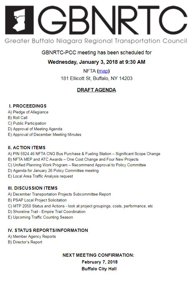 GBNRTC PCC Meeting Agenda January 3rd 2018