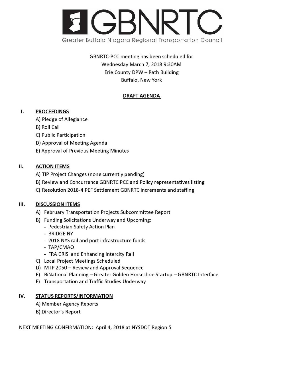 GBNRTC PCC Meeting Draft Agenda March 7th, 2018