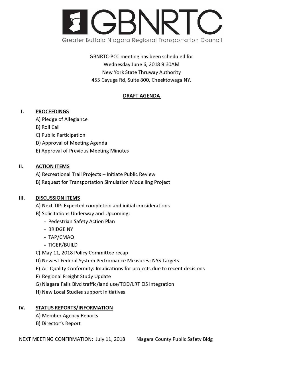 GBNRTC PCC Agenda June 6th, 2018