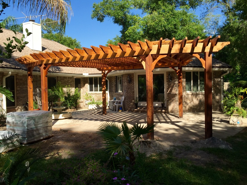 In progress photo of our new fan-shaped pergola design.