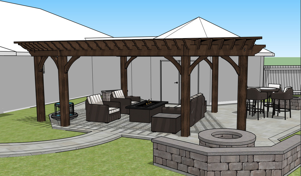 3D model of the new pergola design.