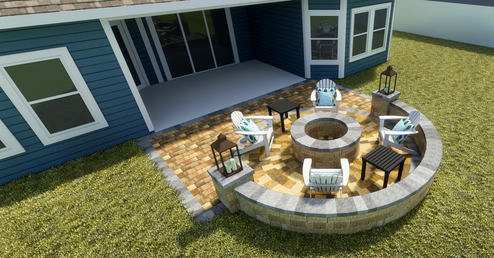 Anastasia - Paver Patio | Fire Pit + Seating Wall