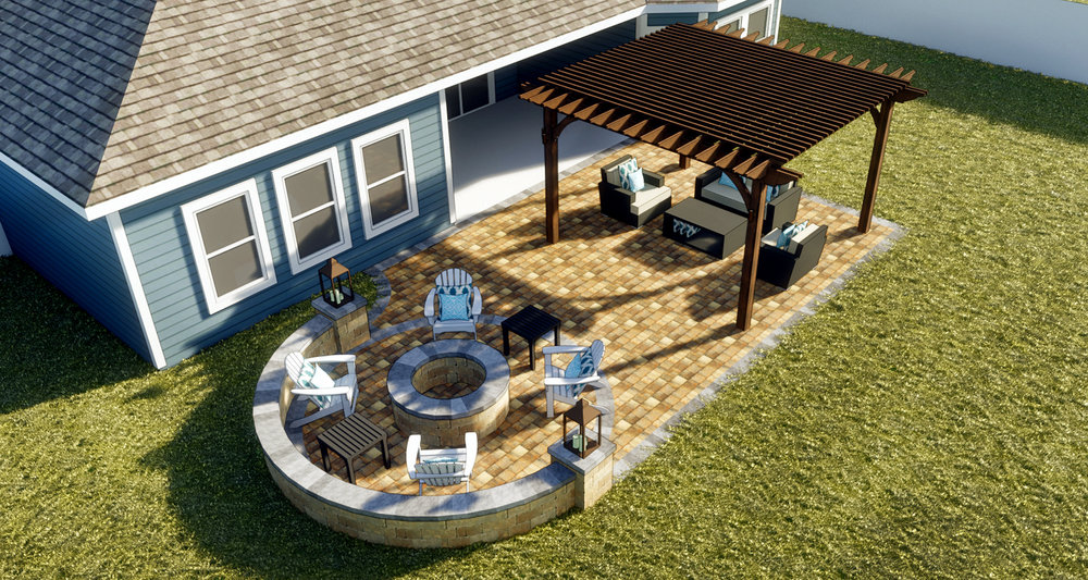Big Talbot - Paver Patio | Fire Pit + Seating Wall | Signature Pergola