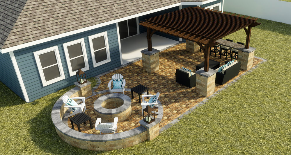Cedar Key - Paver Patio | Fire Pit + Seating Wall | Signature Pergola | Stonegate Columns | Floating Bar Top