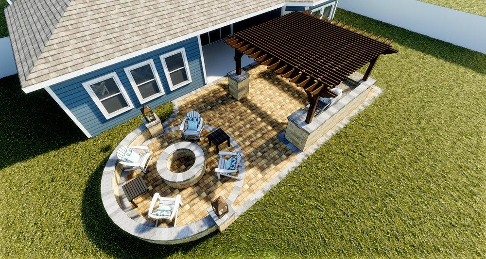 De Leon - Paver Patio | Fire Pit + Seating Wall | Signature Pergola | Stonegate Columns | Outdoor Kitchen