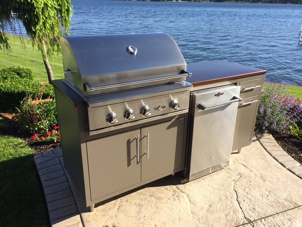 "73"" Coastal Challenger Kitchen w/ Grill + Fridge  (pictured above)  • Delta Heat 32"" gas grill + vinyl cover  • Delta Heat 20"" Outdoor Fridge  • Trash pull-out + storage  • Price: $5,855.04  •  Prattsgiving Deal = $4,955.04  (that's $900 off regular price!)"