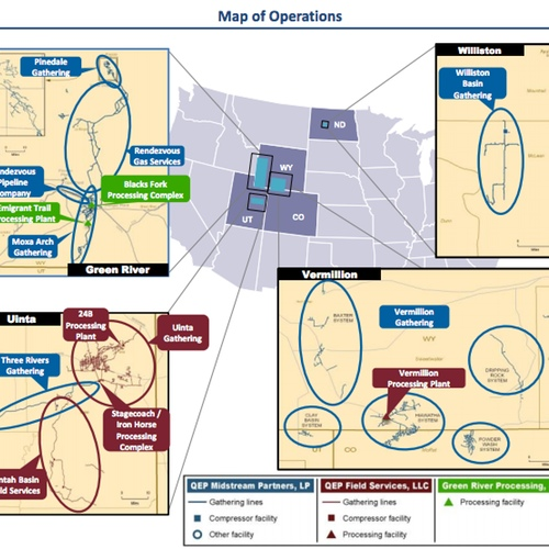 QEP Midstream Operations Map
