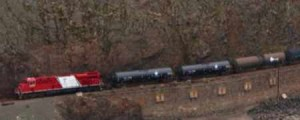 Crude Oil Train Passing Mountain