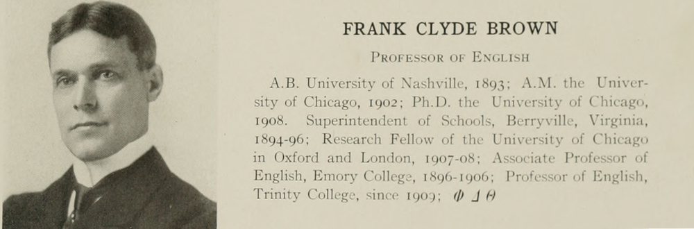 Frank C. Brown in Duke's yearbook  The Chanticleer 1912