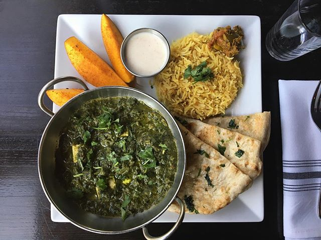 Saag Paneer: spinach, mustard greens, and Indian white cheese cooked with nutmeg.