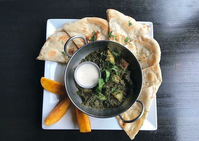 Aloo Palak: spinach, potato, and mustard seeds. #chaishai #kansascity
