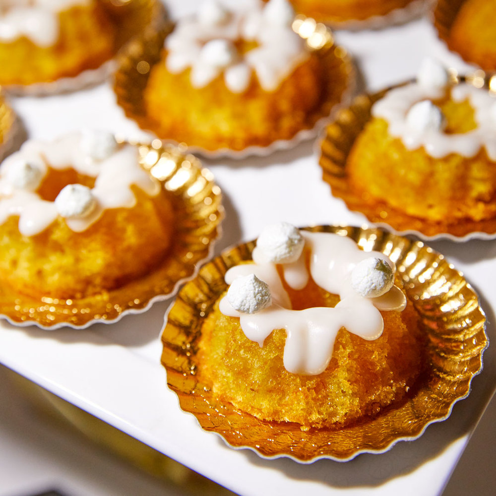 Miniature Orange Bundt Cakes with elderflower glaze and lime meringues - Photo credit David Chow
