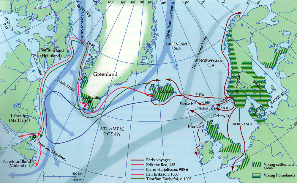 Map of the voyaging explorations of Norse navigators.  Source:  Brandeis University .