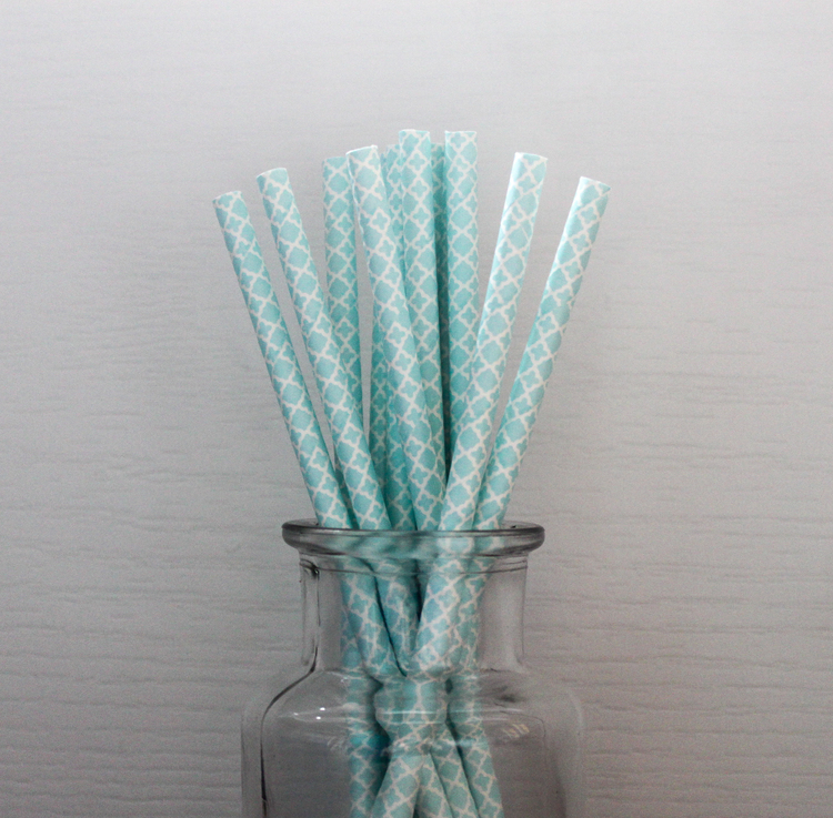Aqua Blue Patterned Straw