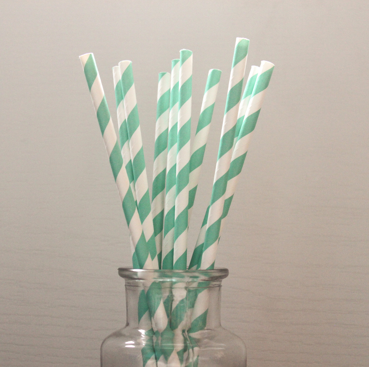 Teal Green Striped Straws