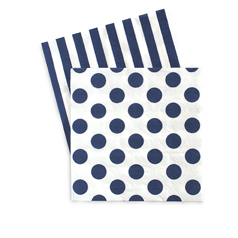 Oh So Fancy - Navy Blue Striped and Polka Dot Napkins