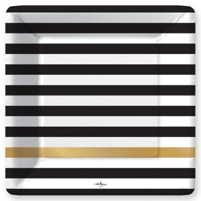 Oh So Fancy - Black and Gold striped dinner plates